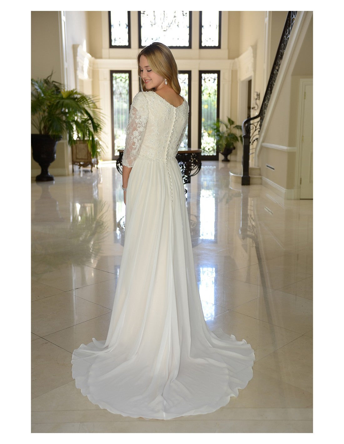 Venus Bridal TB7747 Modest Wedding Dress back from A Closet Full of Dresses