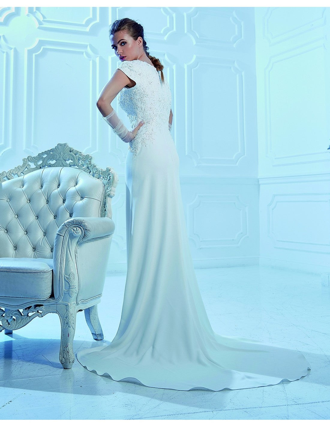 Venus Bridal TB7777 Modest Wedding Dress back from A Closet Full of Dresses