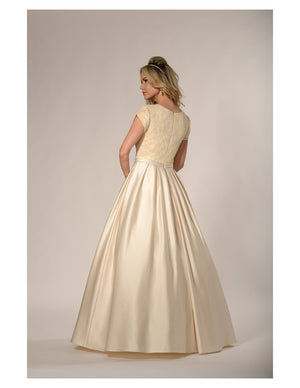 TM1793 Modest Wedding Dress cheap lace satin skirt lds temple bridal gown back view