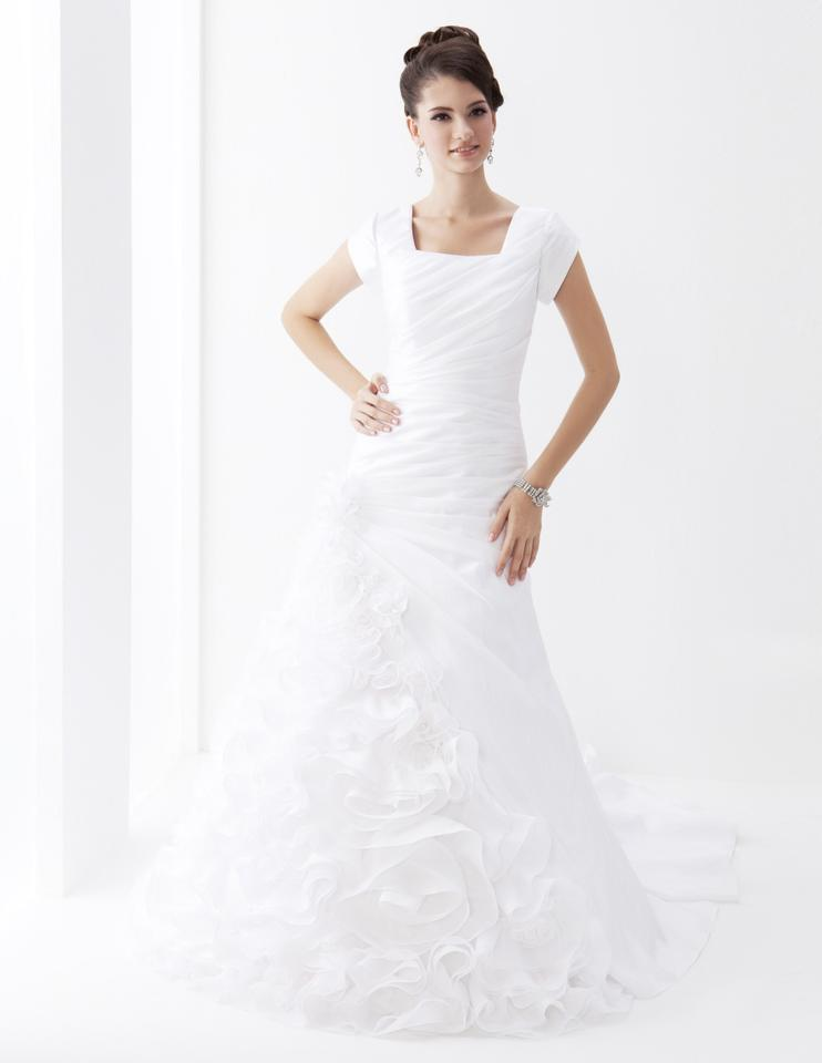 Venus Bridal 7615 White Modest Wedding Dress from A Closet Full of Dresses