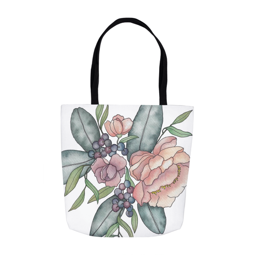 Mauve Floral Illustration Tote Bag