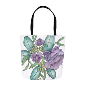 Purple Floral Illustration Tote Bag