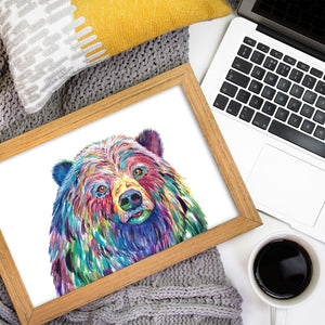 Grizzly Bear Watercolor Print