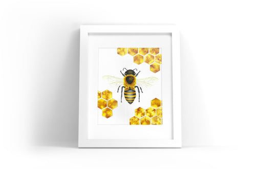 Bee with Honeycomb Watercolor Print