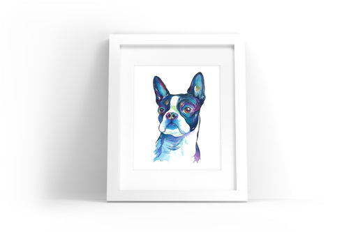 Boston Terrier Watercolor Print