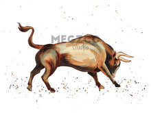 Load image into Gallery viewer, Bull Watercolor Print