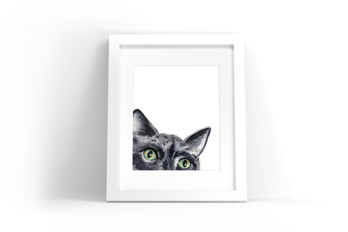 Sneaky Cat Watercolor Print