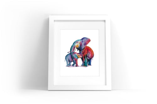 Colorful Elephants Watercolor Print