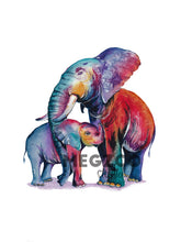 Load image into Gallery viewer, Colorful Elephants Watercolor Print