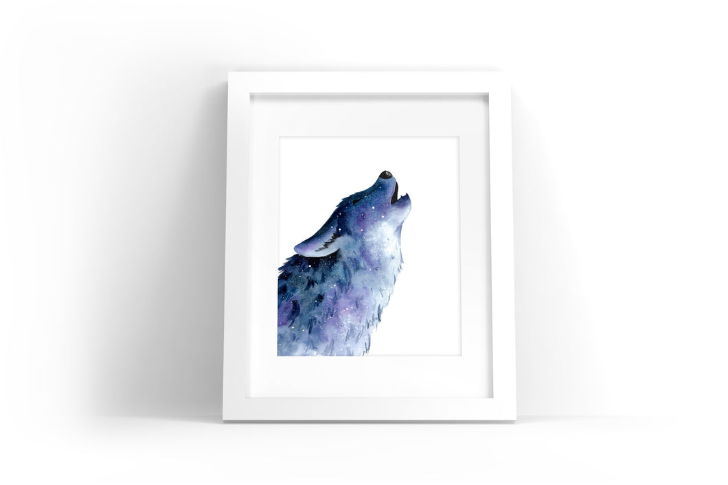 Galaxy Wolf Watercolor Print