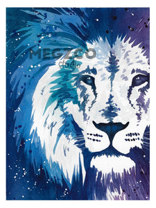 Blue Lion Watercolor Print