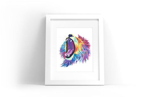 Lion Watercolor Print