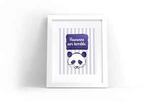 Purple Panda Watercolor Print
