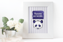 Load image into Gallery viewer, Purple Panda Watercolor Print