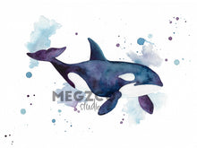 Load image into Gallery viewer, Orca Watercolor Print