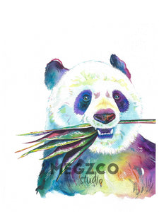 Panda Watercolor Print
