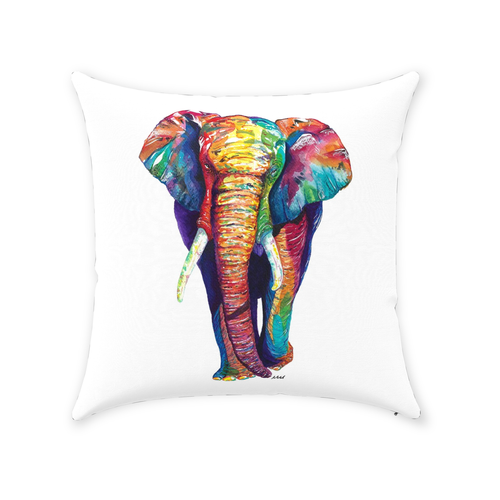 Colorful Elephant Throw Pillow