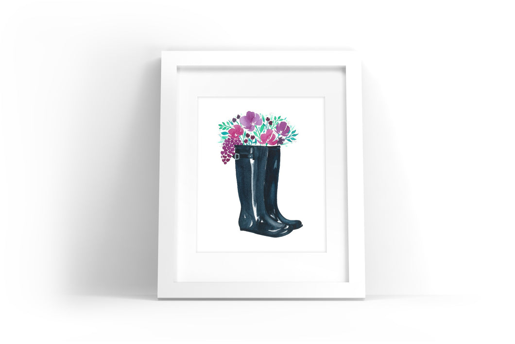 Floral Rainboots Watercolor Print