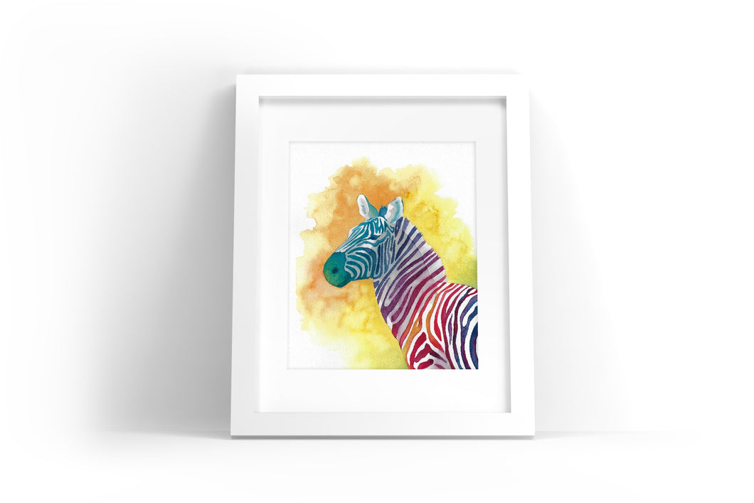 Colorful Zebra Watercolor Print