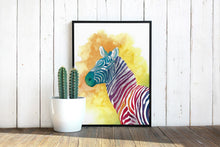 Load image into Gallery viewer, Colorful Zebra Watercolor Print