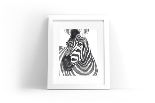 Zebra Watercolor Print