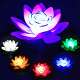 LED Solar Powered Floating Water Lilly Night Lights 18-28cm