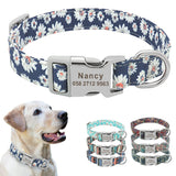 Floral Print Custom Engraved Nylon Collar for dogs