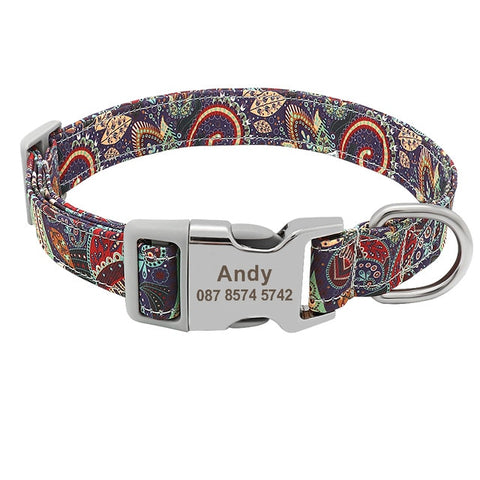 Floral Print Custom Engraved Nylon Collar