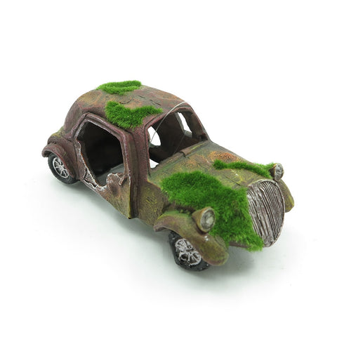 Wrecked Mossy Old Car aquarium ornament