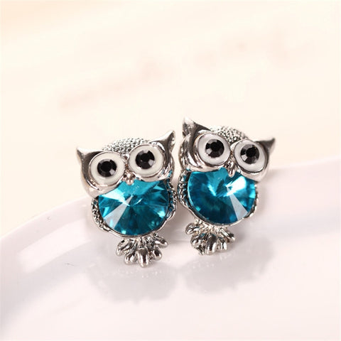 Cute Crystal Owl Stud Earrings - 12 Different Variants