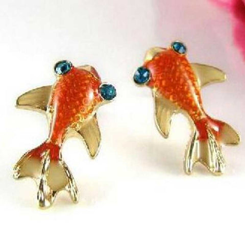 Crystal Eyed Goldfish Stud Earrings