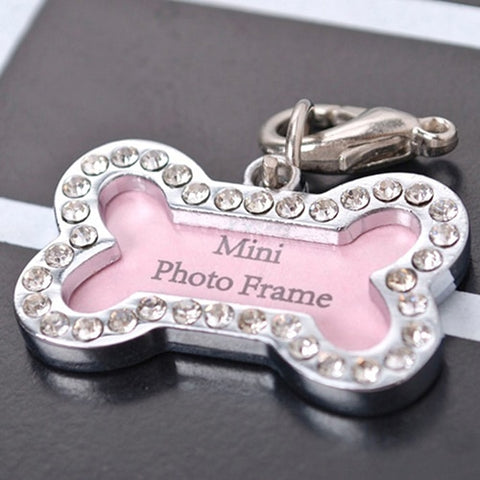 Bone Shaped Rhinestone Pendant - Photo, Name or Address Tag