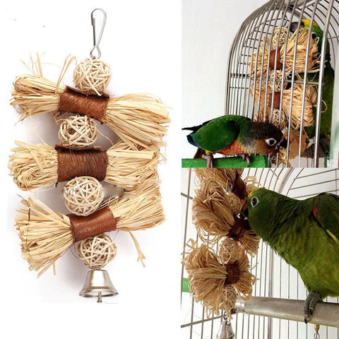 Natural Lafite Grass Chomp Toy for birds