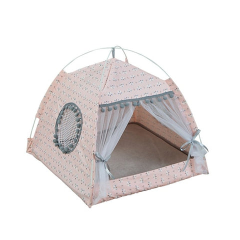 Breathable Pink Summer Lounging Tent for Cats & Small Dogs
