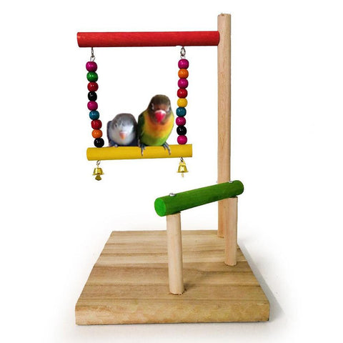 Colourful Wooden Play Perch with Swing, Bells & Beads for birds