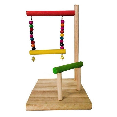 Colourful Wooden Play Perch with Swing, Bells & Beads