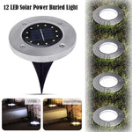 Solar Power Stainless Steel Sunken Garden Pathway Lights 12 LED