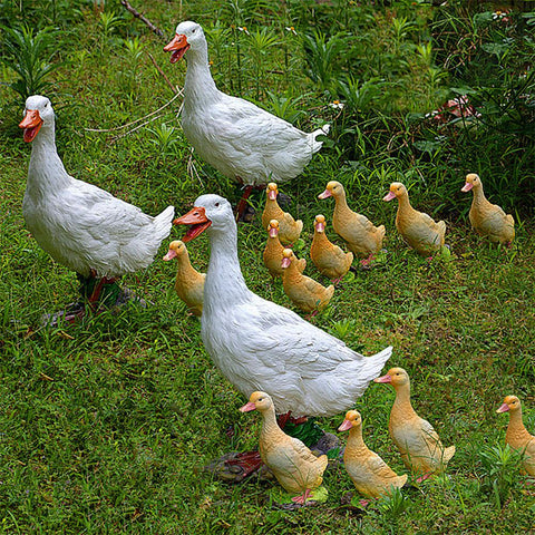 Realistic White Yellow Plastic Duck Garden Ornaments