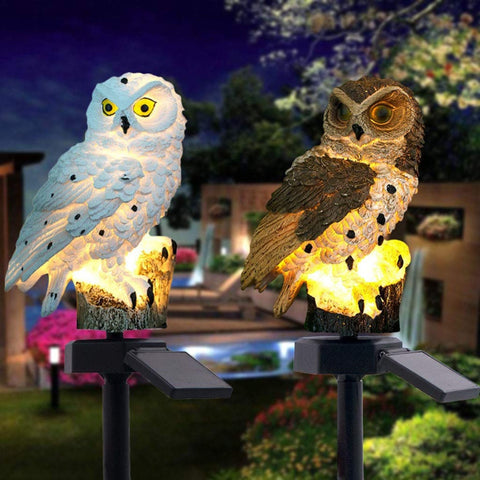 Solar Powered LED Owl Garden Lights - White or Brown