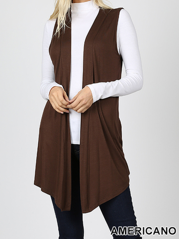 Drapey Open-front Sleeveless Cardigan