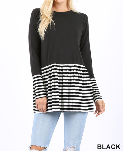 Striped & Solid Contrast Shirred Waist Top