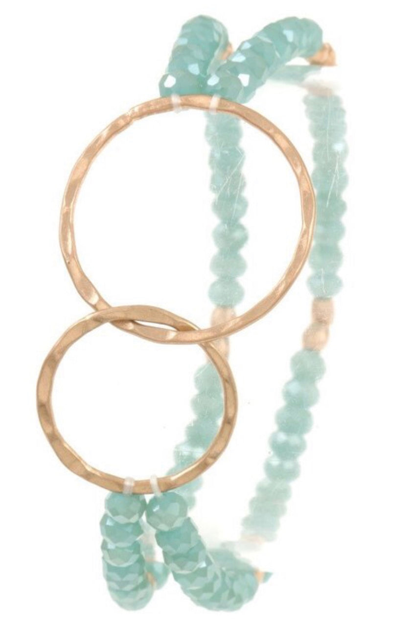 Gold Ring Teal Bead Bracelet