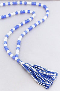 Kentucky Blue And White Beaded Game Day Necklace With Tassel