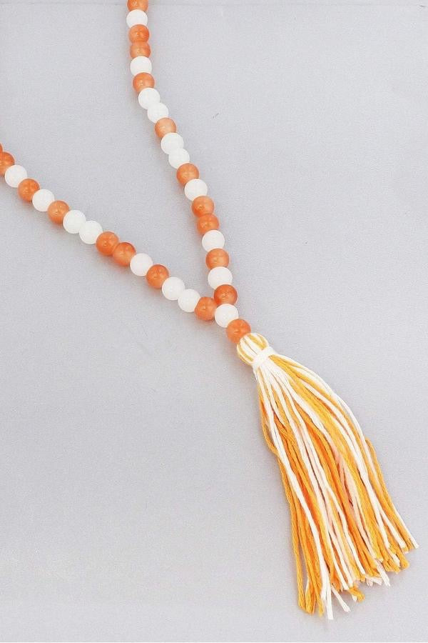 Tennessee Orange And White Beaded Game Day Necklace With Tassel