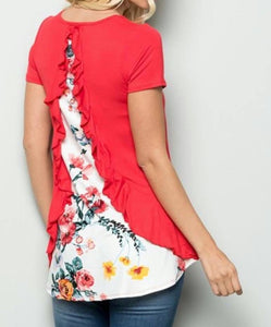 Short Sleeve Back Ruffle Floral Contrast Top