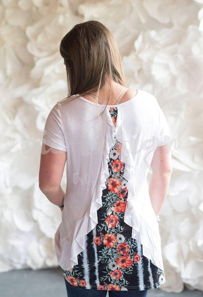 Floral Ruffle Back Top