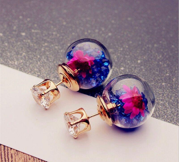 Flower Glass Ball Earring