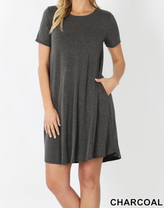Short Sleeve Round Hem A-Line Dress-Pockets