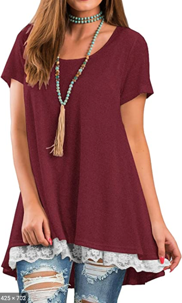 Lace Bottom Tunic Top Maroon XL