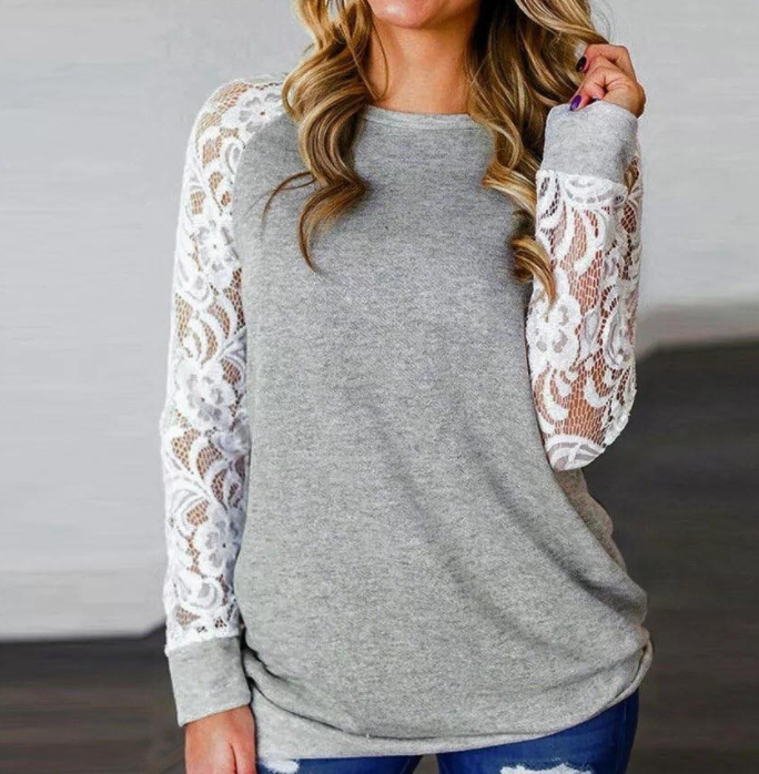 Grey Long Lace Sleeve Top